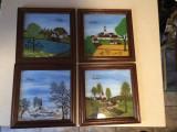 Cele 4 anotimpuri,picturi pe sticla,tablouri germane inramate, Peisaje, Ulei, Altul