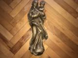Fecioara Maria cu Pruncul,statueta veche sculptata in lemn