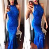 Rochie de seara lunga albastra din dantela