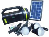Kit Lanterna Solara, 4 becuri incluse, Functie de Powerbank, Boxa cu bluetooth si radio CL-18