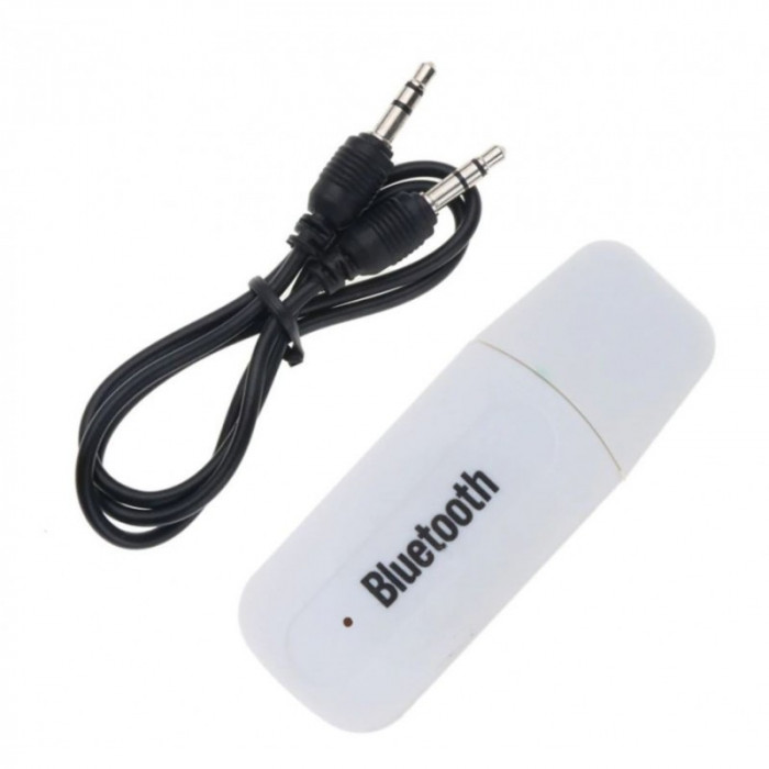 Receptor Audio Adaptor USB Techstar® A2DP cu Jack 3.5mm Transmitator AUX, Alb