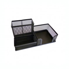 Suport pentru accesorii de birou metalic mesh Forpus 30612 negru