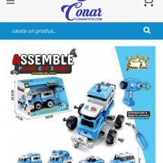 Set asamblat camion politia bormasina electrica muzical acmulator