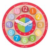 Ceas colorat din lemn, 2.5 x 22.5 x 22.5 cm, 18 luni+, Bigjigs