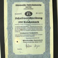 Titlu De Stat Obligatiune Germania 1941-500-Reichsmark.