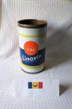 Cutie veche de vopsea Linoxin, cutie tabla de colectie produsa la Scornicesti