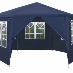Cort Pavilion Hexagon pentru Gradina sau Evenimente, Diametru 4m cu 6 Pereti Laterali, Culoare Albastru