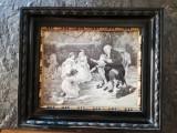 Goblen pe matase semnat F. Morgan,circa 1910,15x20 cm,rama lemn superba