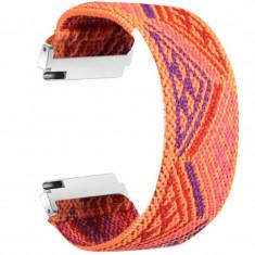Curea textila elastica, compatibila Samsung Gear Sport, telescoape Quick Release, Oriental Model