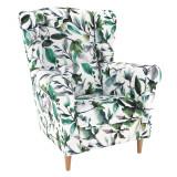 Fotoliu, material textil model frunze verzi, CHARLOT