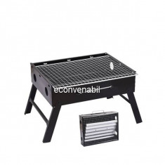 Gratar Portabil Drepunghiular Pliabil 36x27x20cm Otel BBQ06