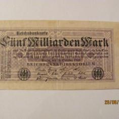 CY  5000000000 5 miliarde marci mark 20.10.1923 Reichsbanknote Germania unifata