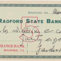 CHECK RADFORD STATE BANK 1917 XF WTMK