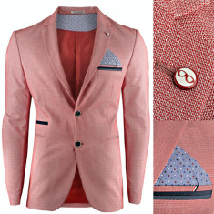 Sacou pentru barbati, rosu, casual, slim fit, premium, inchidere doi nasturi - Monaco