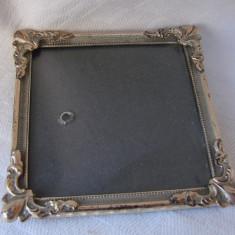 Rama veche din alama masiva argintata, anii 1930 (2), Aluminiu, Dreptunghiular