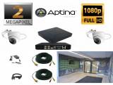 Cumpara ieftin Kit supraveghere video intrare scara bloc 2 camere profesionale 2 MP 1080P FULL HD 20m infrarosu, full accesorii
