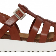 Sandale dama flatform cu barete multiple Kickers 622490-50-9 maro
