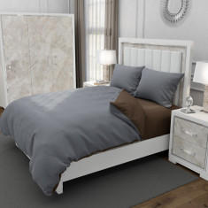 Lenjerie de pat matrimonial cu husa elastic pat si 4 huse perna cu mix dimensiuni, Duo Brown, bumbac satinat, gramaj tesatura 120 g mp, Gri Maro, 6 pi