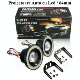 Set 2 Proiectoare cu Lupa LED Angel Eyes 64mm, Universal