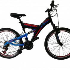 """Bicicleta MTB Full Suspensie Umit RideOn , Culoare Negru/Rosu Roata 24""""PB Cod:24110000001, 21, V-brake"""
