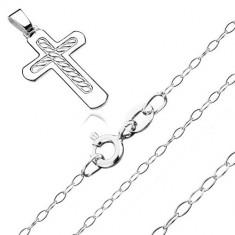 Colier din argint 925 - model cruce cu sfoară împletită în mijloc, lanț lucios