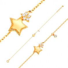 Brăţară realizată din aur galben de 14K - două stele în cinci colțuri strălucitoare și zirconiu rotund, transparent