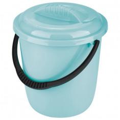 Galeata plastic, rotunda, 12 L, cu capac, turcoaz, Rusia // Elfe