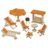 Mobilier din lemn pentru papusi, gradina, sezlong si alte accesorii de jucarie, 9 piese