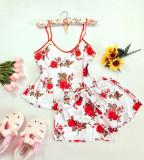 Cumpara ieftin Pijama dama ieftina primavara-vara alba din satin lucios cu imprimeu trandafir rosu