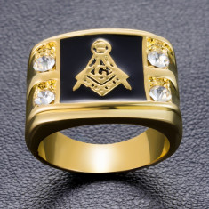 Inel Barbatesc masonic masonerie echer- Mason / Freemasons , Illuminati gold
