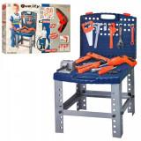 Banc de scule copii cu bormasina electrica de jucarie si o multime de accesorii - 00822