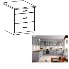 Cabinet inferior cu sertare, gri mat alb, LAYLA D60S3