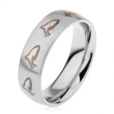 Inel argintiu din oțel chirurgical, contururi de delfin de culoare maro-închis, 6 mm - Marime inel: 57
