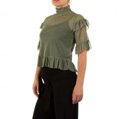 Bluza usor transparenta, de culoare verde, cu maneci scurte, L, M, S