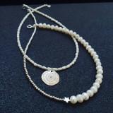 Colier perle naturale si bilute argint