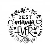 "Cumpara ieftin Sticker Mama ""Best mama ever"", 50×47 cm, Negru, Oracal"