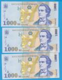 LOT 3 BANCNOTE ROMANIA - 1000 LEI 1998, SERII CONSECUTIVE, STARE AUNC