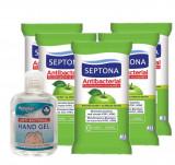 Cumpara ieftin Set Gel Antibacterian Hygienics, cu 70% Alcool, 50 ml si 5 Servetele Antibacteriene Septona cu 20% Alcool