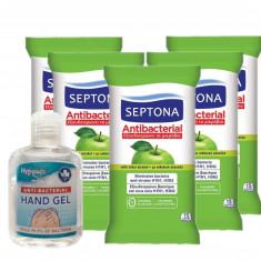 Set Gel Antibacterian Hygienics, cu 70% Alcool, 50 ml si 5 Servetele Antibacteriene Septona cu 20% Alcool