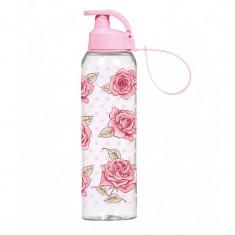Sticlă din plastic, pentru lichide, 750ml, model floral