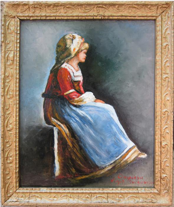 Tablou / Pictura fata semnat Cimpoesu dupa Grigorescu