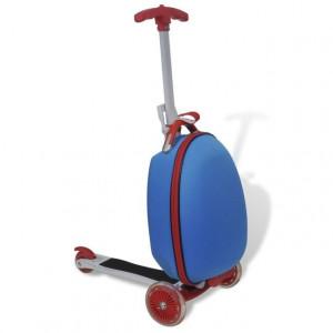 Trotinetă cu troller pentru copii, albastru