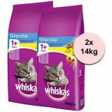 WHISKAS Sterile - pentru pisici sterilizate 2 x 14 kg