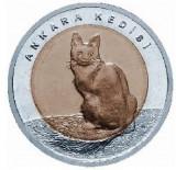 Monede Turcească Comemorative FAUNA PISICĂ ANGORA TURCEASCĂ 1 Liră Turcească, Europa