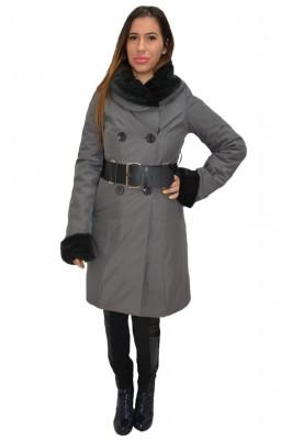 Paltoan de culoare gri, cu blanita neagra foto