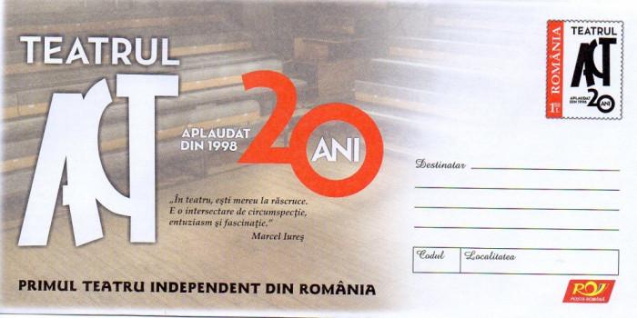 Primul Teatru Independent din Romania, intreg postal necirculat, 2018