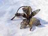 BROSA argint ORHIDEREE in filigran EXCEPTIONALA patina MINUNATA de efect RARA