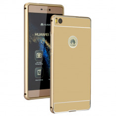 Husa Bumper Aluminiu Metalic Huawei P9 Gold Fullcover