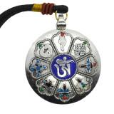 Amuleta argintie cu cele 8 simboluri tibetane, cu cele 12 zodii si silaba de protectie