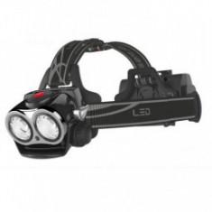 Lanterna frontala 2 LED, 3 faze, functionalitate optionala 1 LED IPX6